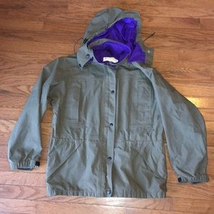 Vintage REI Gortex Rain Jacket Olive/Purple Size 8